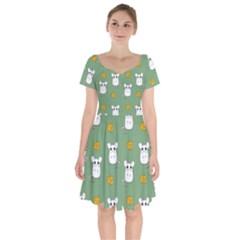 Cute Mouse Pattern Short Sleeve Bardot Dress by Valentinaart