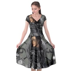 Steampunk, Steampunk Lady, Clocks And Gears In Silver Cap Sleeve Wrap Front Dress