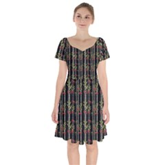 Bamboo Pattern Short Sleeve Bardot Dress by ValentinaDesign