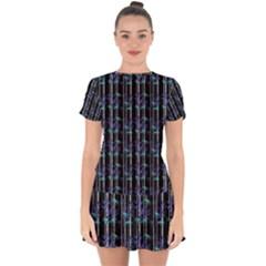 Bamboo Pattern Drop Hem Mini Chiffon Dress by ValentinaDesign