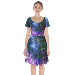 Space Colors Short Sleeve Bardot Dress by ValentinaDesign
