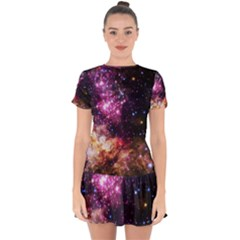 Space Colors Drop Hem Mini Chiffon Dress by ValentinaDesign