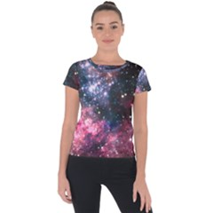 Space Colors Short Sleeve Sports Top  by ValentinaDesign