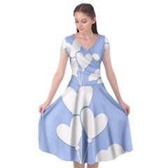 Clouds Sky Air Balloons Heart Blue Cap Sleeve Wrap Front Dress by Nexatart
