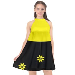 Flower Land Yellow Black Design Halter Neckline Chiffon Dress  by Nexatart