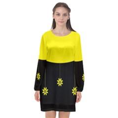 Flower Land Yellow Black Design Long Sleeve Chiffon Shift Dress  by Nexatart