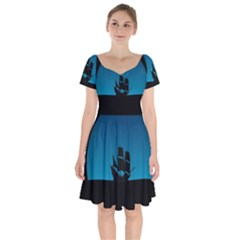 Ship Night Sailing Water Sea Sky Short Sleeve Bardot Dress by Nexatart