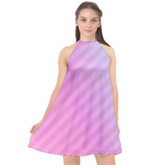 Diagonal Pink Stripe Gradient Halter Neckline Chiffon Dress  by Nexatart