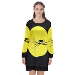 Jaguar Puma Animal Panther Cat Long Sleeve Chiffon Shift Dress  by Nexatart