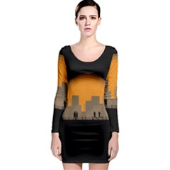 City Buildings Couple Man Women Long Sleeve Bodycon Dress by Nexatart