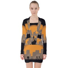City Buildings Couple Man Women V Neck Bodycon Long Sleeve Dress by Nexatart