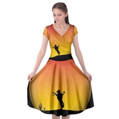 Horse Cowboy Sunset Western Riding Cap Sleeve Wrap Front Dress by Nexatart