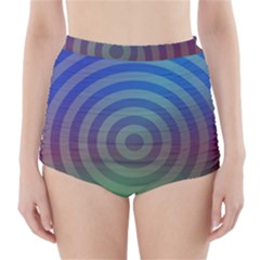 Blue Green Abstract Background High Waisted Bikini Bottoms