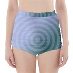 Teal Background Concentric High Waisted Bikini Bottoms