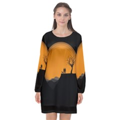 Couple Dog View Clouds Tree Cliff Long Sleeve Chiffon Shift Dress  by Nexatart