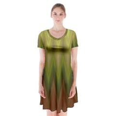 Zig Zag Chevron Classic Pattern Short Sleeve V Neck Flare Dress by Nexatart