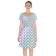 Zigzag Line Pattern Zig Zag Short Sleeve Bardot Dress