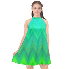 Green Zig Zag Chevron Classic Pattern Halter Neckline Chiffon Dress