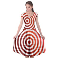 Concentric Red Rings Background Cap Sleeve Wrap Front Dress by Nexatart