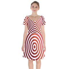 Concentric Red Rings Background Short Sleeve Bardot Dress by Nexatart