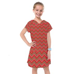 Background Retro Red Zigzag Kids  Drop Waist Dress by Nexatart
