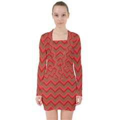 Background Retro Red Zigzag V Neck Bodycon Long Sleeve Dress by Nexatart