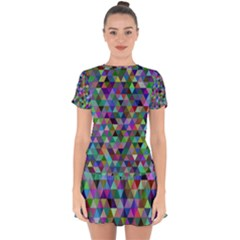 Triangle Tile Mosaic Pattern Drop Hem Mini Chiffon Dress