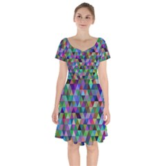 Triangle Tile Mosaic Pattern Short Sleeve Bardot Dress by Nexatart