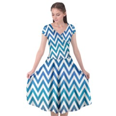 Blue Zig Zag Chevron Classic Pattern Cap Sleeve Wrap Front Dress by Nexatart
