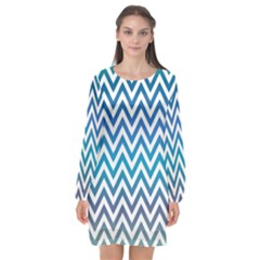 Blue Zig Zag Chevron Classic Pattern Long Sleeve Chiffon Shift Dress