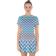 Blue Zig Zag Chevron Classic Pattern Drop Hem Mini Chiffon Dress by Nexatart