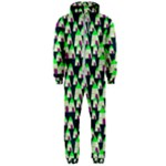 Edgy Cartoon Small Houses Pink Green Purple Multi Hooded Jumpsuit (Men)