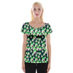 Edgy Cartoon Small Houses Pink Green Purple Multi Cap Sleeve Top