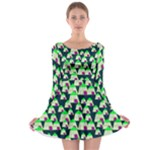 Edgy Cartoon Small Houses Pink Green Purple Multi Long Sleeve Skater Dress