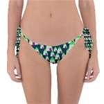 Edgy Cartoon Small Houses Pink Green Purple Multi Reversible Bikini Bottom