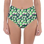 Edgy Cartoon Small Houses Pink Green Purple Multi Reversible High-Waist Bikini Bottoms