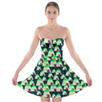Edgy Cartoon Small Houses Pink Green Purple Multi Strapless Bra Top Dress