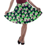 Edgy Cartoon Small Houses Pink Green Purple Multi A-line Skater Skirt