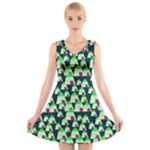 Edgy Cartoon Small Houses Pink Green Purple Multi V-Neck Sleeveless Dress