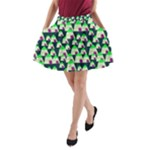 Edgy Cartoon Small Houses Pink Green Purple Multi A-Line Pocket Skirt