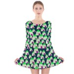 Edgy Cartoon Small Houses Pink Green Purple Multi Long Sleeve Velvet Skater Dress
