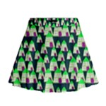 Edgy Cartoon Small Houses Pink Green Purple Multi Mini Flare Skirt