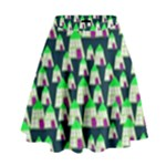 Edgy Cartoon Small Houses Pink Green Purple Multi High Waist Skirt