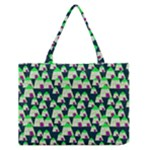 Edgy Cartoon Small Houses Pink Green Purple Multi Zipper Medium Tote Bag