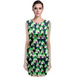 Edgy Cartoon Small Houses Pink Green Purple Multi Sleeveless Velvet Midi Dress