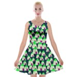 Edgy Cartoon Small Houses Pink Green Purple Multi Velvet Skater Dress
