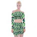 Edgy Cartoon Small Houses Pink Green Purple Multi Off Shoulder Top with Skirt Set