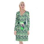 Edgy Cartoon Small Houses Pink Green Purple Multi Long Sleeve Velvet Front Wrap Dress