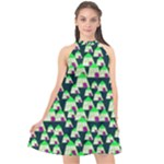 Edgy Cartoon Small Houses Pink Green Purple Multi Halter Neckline Chiffon Dress