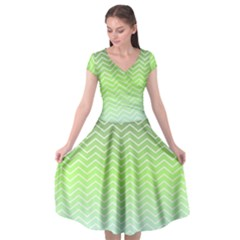 Green Line Zigzag Pattern Chevron Cap Sleeve Wrap Front Dress by Nexatart